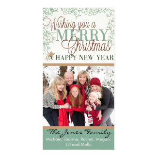 Wishing you a Merry Christmas and Happy New Year Personalized Photo Card