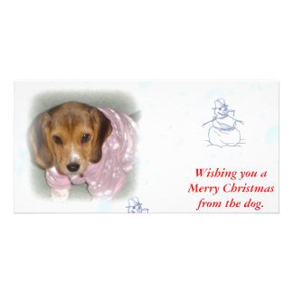 Wishing you a Merry Christmas from the dog. Customized Photo Card