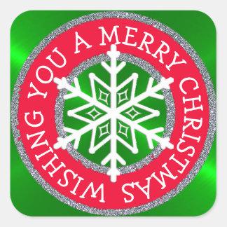 Wishing you a Merry Christmas Snowflake Sticker