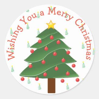 Wishing you a Merry Christmas Tree Sticker