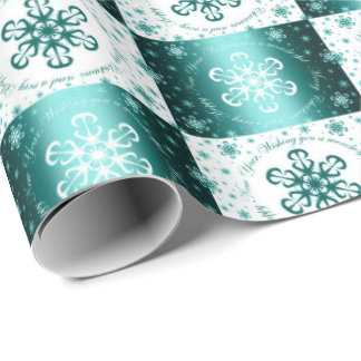"""Wishing you a Merry Christmas"" Turquoise & White Wrapping Paper"