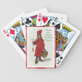 Wishing You Health, Wealth and Happiness Bicycle Playing Cards