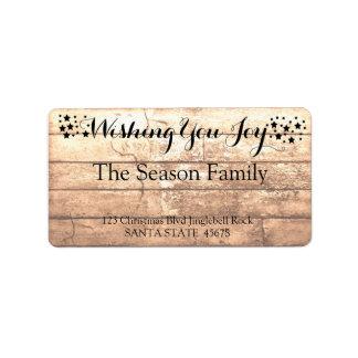 Wishing you Joy Rustic wooden holiday label