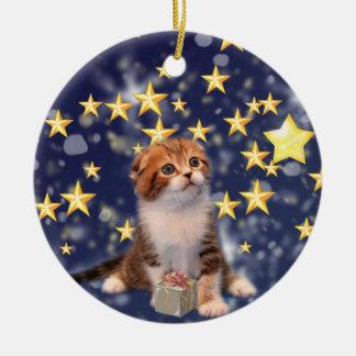 Wishing You Wonder and Joy Cat Artwork Double-Sided Ceramic Round Christmas Ornament