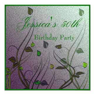 Wispy Green Leaf Floral 50th Birthday Card