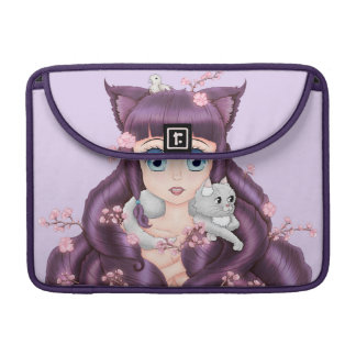 Wispy Purple Haired Neko Anime Girl MacBook Pro Sleeve