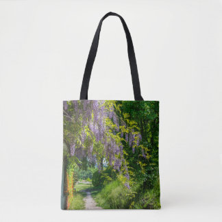 Wisteria all-over-print tote bag