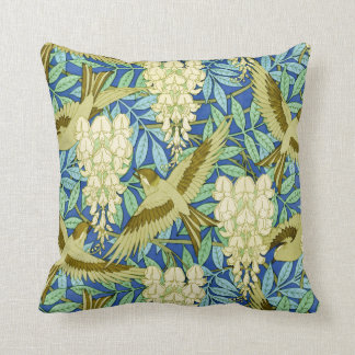 Wisteria and Birds Art Nouveau Floral Throw Pillow