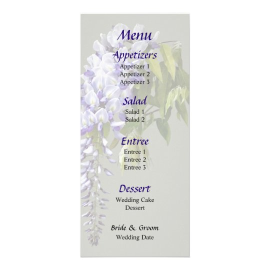 Wisteria and Leaves Wedding Menu Customized Rack Card