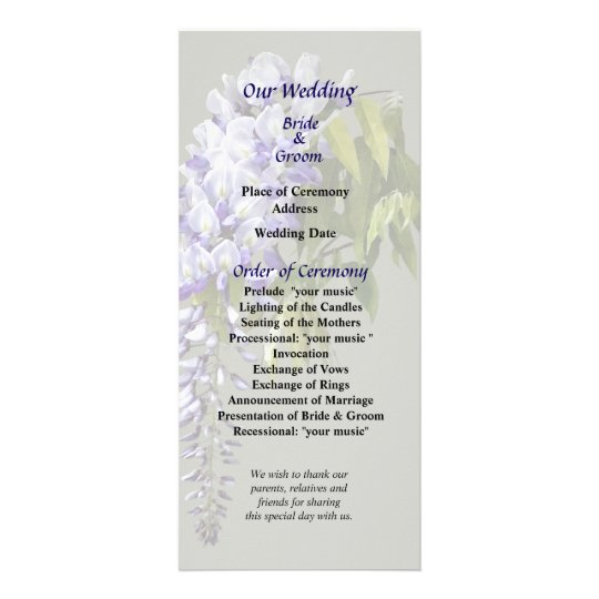 Wisteria and Leaves Wedding Program Rack Card Design