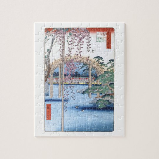Wisteria at Kameido Shrine Hiroshige Fine Art Jigsaw Puzzle