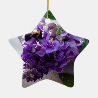 Wisteria & Bee Ceramic Ornament