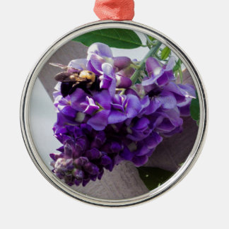 Wisteria & Bee Metal Ornament