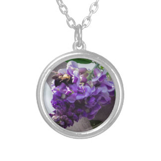 Wisteria & Bee Silver Plated Necklace