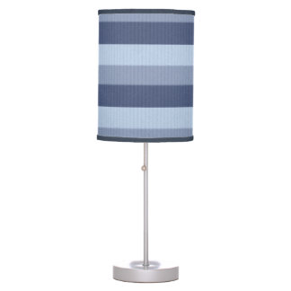 Wisteria Blue Ombre Tonal Horizontal Stripes Table Lamp