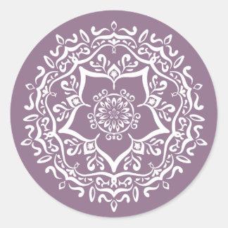 Wisteria Mandala Classic Round Sticker