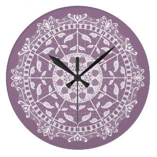Wisteria Mandala Large Clock