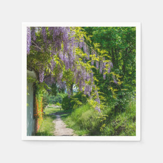 Wisteria on a country lane paper napkin