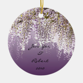 Wisteria on Lavender Ceramic Ornament