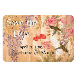 Wisteria Roses Flowers Floral Save the Date Magnet