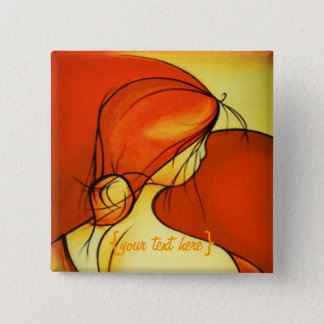 Wistful Lady In Orange 2 Inch Square Button