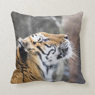 Wistful Winter Tiger Throw Pillow