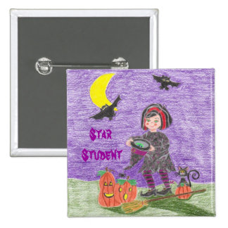 Witch 3 Star Student Pinback Button