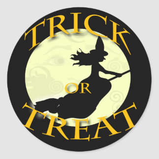 witch-across-the-moon-stamp classic round sticker