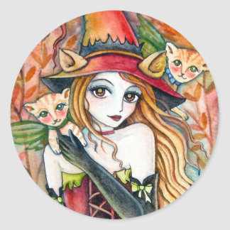 Witch and cat * Blondes*  Sticker