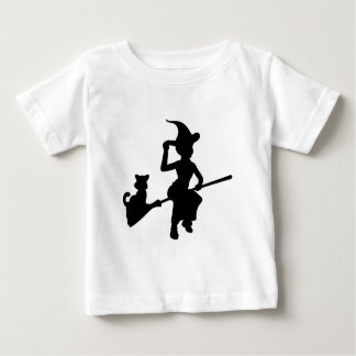 Witch and Cat Flying On Broomstick Silhouette Baby T-Shirt