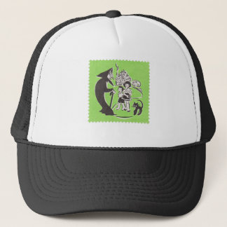 Witch and Cat Trucker Hat