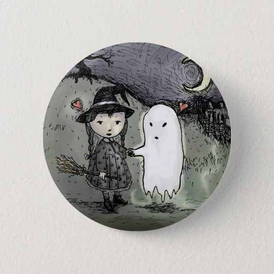 Witch and Ghost in Love 2 Inch Round Button