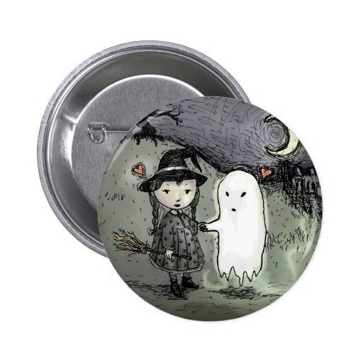 Witch and Ghost in Love Button