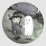 Witch and Ghost in Love Classic Round Sticker