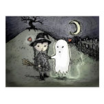 Witch and Ghost in Love Postcard