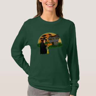 Witch and Haunted House Halloween T-shirt