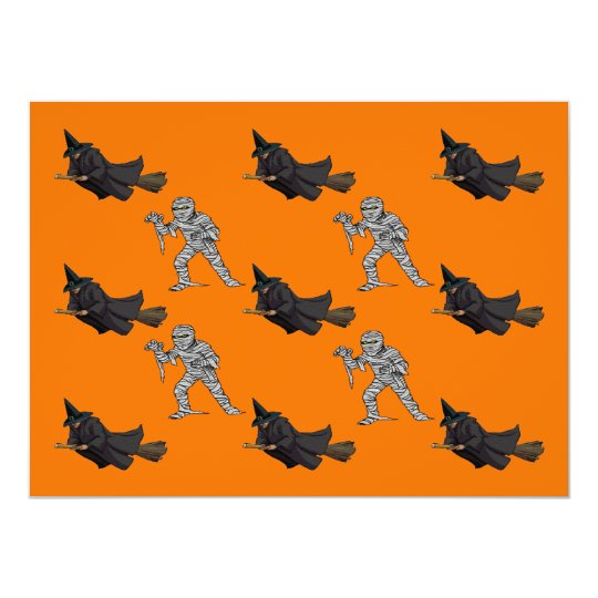 Witch and Mummy Pattern Halloween Party Invite