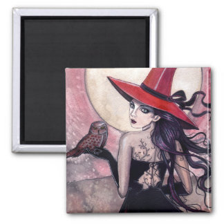 Witch and Owl Fantasy Art Magnet