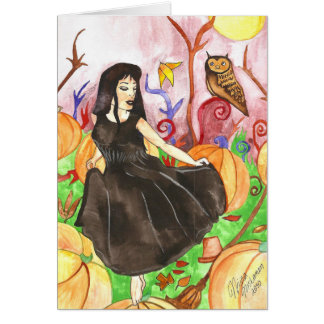 Witch and the Pumpkin Field Samhain Greeting Card
