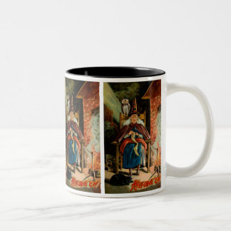Witch at Fireplace Two-Tone Coffee Mug