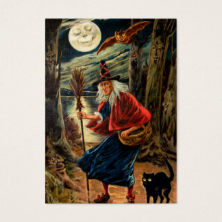 Witch at Halloween Night Business Card