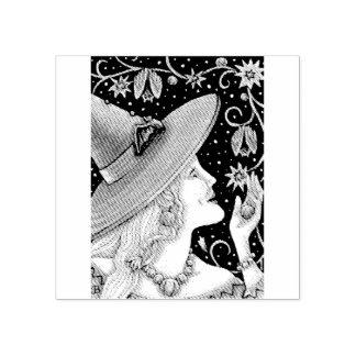 WITCH & BAT VINES HALLOWEEN RUBBER STAMP