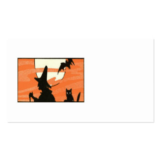 Witch Black Cat Bat Full Moon Business Card Templates