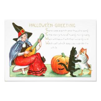 Witch Black Cat Guitar Jack O Lantern Owl Photo Print