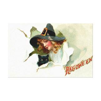 Witch Black Cat Vintage Halloween Canvas Prints