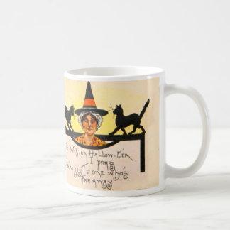 Witch Black Cat Vintage Halloween Coffee Mug