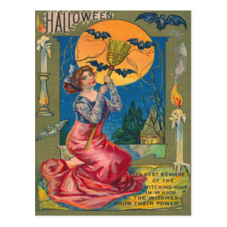 Witch Broom Bat Full Moon Candle Postcard
