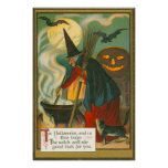 Witch Broom Cauldron Jack O Lantern Bat Cat Poster