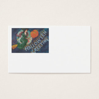 Witch Broom Flying Jack O' Lantern Full Moon Business Card