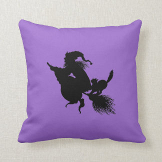 Witch Broomstick and Cat on Purple Throw Pillow